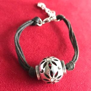BRIGHTON Leather and silver bracelet